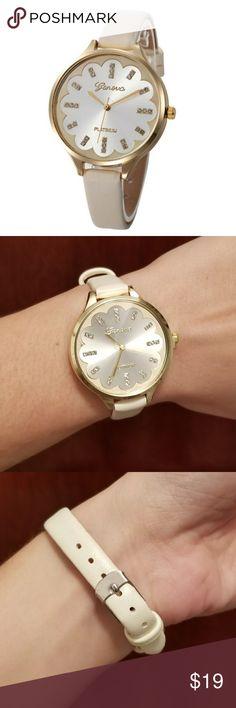 🆕️Geneva Platinum Quartz watch 💝 Brand New- Women's Geneva Platinum Quartz Watch . Size: ADJUSTABLE  Type: Quartz ( Battery ) COLOR: beige / White / Gold Geneva Platinum Accessories Watches