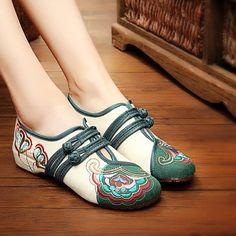 Винтаж Китайская Вышивка Цветочная Обувь Мария Джейнс С Пряжками Повседневные Плоские Лоферы