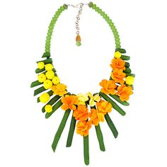 Sara Amrhein Firenze Branches & Flowers Bold Statement Necklace ($375) ❤ liked on Polyvore featuring jewelry, necklaces, multi colored necklace, multicolor necklace, flower statement necklace, handcrafted jewelry and handcrafted necklaces