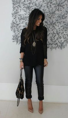 Women Fashion Mania: Zoe Leather look legging Mode Outfits, Fall Outfits, Casual Outfits, Black Outfits, All Black Outfit For Work, Summer Outfits, Outfits 2016, Look Fashion, Womens Fashion