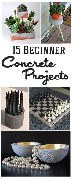 15 Easy DIY Cement and Concrete Projects via TheKimSixFix.com Get your hands dirty with these easy to make concrete and cement DIY projects. Perfect for beginners (easy diy crafts for beginners)