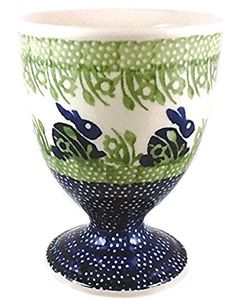 Polish Pottery 10 Ounce Stoneware Goblet Wine Water Juice Glass Dessert Dish Bowl P325 Beatrix Bunny Rabbit Blue and Green ** Visit the image link more details.