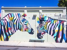 ZEBRAS, SOUTH FREMANTLE. I love that #Perth is covered in #streetart & I have a crush on @anyabrock. She is ridiculously talented, iconic to Perth and I love her. I recently published a blog on #AnyaBrock to share some of the pieces I've photographed around #WesternAustralia... http://www.katierebekah.com.au/adventure/chasinganya/ #Anya #streetart #graffiti #art #colourfulart #geometric #murel #perthstreetart #australianstreetart #perthgrafitti #australiangrafitti #zebras #fremantle