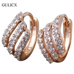 GULICX Fashion Lady Earing  Gold Platinum Plated Hoop Earrings luxury Jewelry Round Crystal Cubic Zircon Wedding Jewelry E156