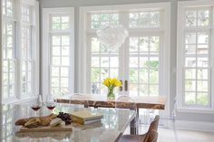 Live Edge Dining Table with Victoria Ghost Chairs, Transitional, Dining Room