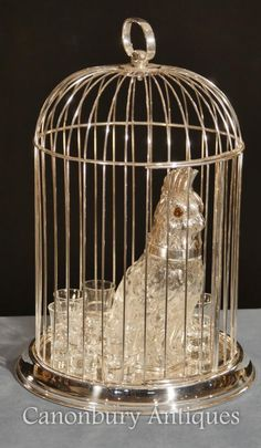 Victorian Silver Plate Caged Parrot Decanter Shot Glass Set