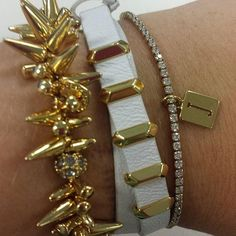 Gold arm party with a charm added!! #StellaDot #bracelet #stelladotstyle #initial