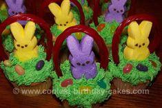 marshmallow bunnies in basket cupcake