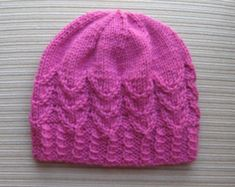 Items similar to Knitting Pattern Hat in Petals Stitch in Size Adult on Etsy Baby Hats Knitting, Knitting For Kids, Knitting Projects, Knitted Hats, Crochet Hats, Weaving Patterns, Stitch Patterns, Knitting Patterns, Crochet Patterns