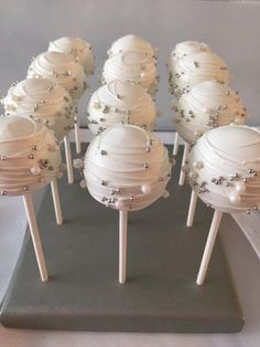 12 Classic White Silve Cake Pops Bridal Baby Shower First Birthday Sweets Table Party Favor Cake Pop Anniversary Wedding Favors(Wedding Cake Pops)