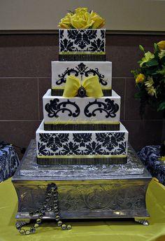 Elegant Yellow and Black Damask Wedding Cake | Flickr - Photo Sharing!