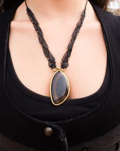 Black Onyx brass & Macrame necklace, Large Onyx gemstone, onyx pendant, golden and black, brass pendant, black necklace, gothic, Boho, gift by SPIRALICA on Etsy https://www.etsy.com/listing/253412553/black-onyx-brass-macrame-necklace-large