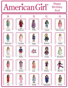 Bingo American Girl Birthday Party Game Cards (NOW WITH American Girl Doll NAMES) via Etsy    I have updated the BINGO sheets with the dolls name, by popular demand!  Enjoy!