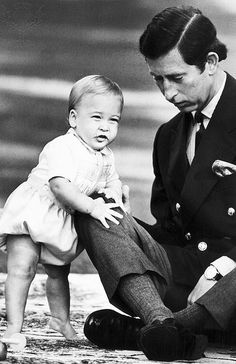 Prince Charles and baby William.