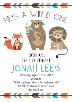 Wild One - Tribal First Birthday Invitation 1st Birthday Party Invitations, 1st Birthday Parties, 2nd Birthday, Forest Party, Indian Boy, Woodland Theme, Wild Ones, Forest Animals, Animal Party