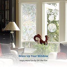 Amazon.com: Rabbitgoo 3D No Glue Static Decorative Privacy Window Films for Glass Non-Adhesive Heat Control Anti Uv 35.4in. By 78.7in. (90 x 200CM): Home & Kitchen