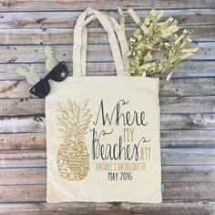 Where My Beaches At Palm Trees-Beach Bachelorette Party Tote - Wedding Welcome Tote Bag Bachlorette Party, Bachelorette Cruise, Bachelorette Party Activities, Nautical Bachelorette Party, Bachelorette Themes, Party Planning, Henna, Beaches, Cruise Vacation