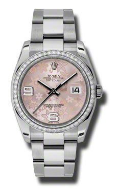 Rolex Datejust 36mm - Steel White Gold Dia Bezel - Oyster (Style No: 116244  pfao) from SwissLuxury.Com