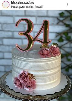 Modern Birthday Cakes, 50th Birthday Cake Toppers, 50th Cake, Cute Birthday Cakes, Beautiful Birthday Cakes, Beautiful Cupcakes, Creative Cake Decorating, Cake Decorating Techniques, Birthday Cake For Women Simple