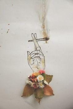 drawing art dope hippie weed marijuana smoke boho pot reefer mary jane high hand Smoking artwork flower flowers dro maryjane stoned Sketch bohemian Daisy roses leaves bouquet bohemia daisies cannibus bohem