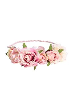 Hairband with flowers: Braided elastic hairband decorated with fabric roses.
