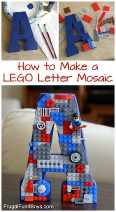 How do I create a letter mosaic with LEGO bricks? How do I create a letter mosaic with LEGO bricks? How do I create a letter mosaic with LEGO bricks? How do I create a letter mosaic with LEGO bricks? Crafts For Boys, Craft Projects For Kids, Fun Crafts, Recycled Art Projects, Decor Crafts, Deco Lego, Lego Room Decor, Lego Letters, Diy Letters