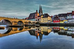 Regensburg, Germany--my apartment was on the left.  I crossed over the Danube every day to get to town.