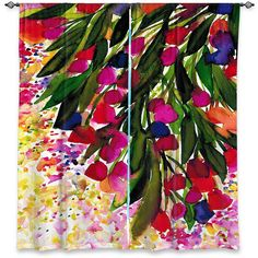 BOTANICAL REGENCY 1 Red Yellow Green Pink Floral Polka Dots Art Window Curtains by EbiEmporium