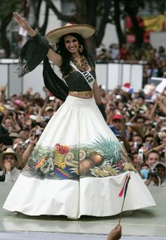 Miss Universe Contenders Don Outfits with Dolphins, Corn in Mexican Capital Mexican Fashion, Mexican Outfit, Mexican Style, Traditional Mexican Dress, Traditional Fashion, Traditional Outfits, Mariachi Quinceanera Dress, Quinceanera Dresses, 15 Dresses