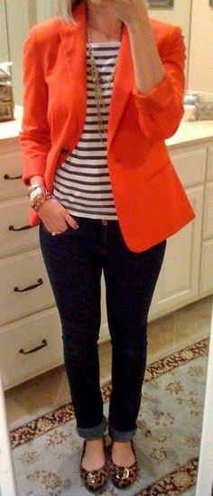 Leopard shoes, black jeans, striped tee, red blazer.