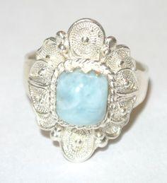 Paraguayan Filigree http://www.ebay.com/itm/Sterling-Silver-Oval-genuine-Larimar-Filigree-Vintage-Style-Carreton-Ring-/151089819191?pt=Handcrafted_Artisan_Jewelry=item232da7ae37