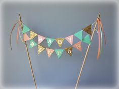 Peach, mint and gold glitter cake bunting topper, PERSONALIZED. Birthday, baby shower, bridal shower.