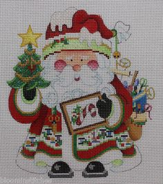"""Strictly Christmas   Needlepoint Santa Claus  Hand Painted Needlepoint Canvas   The image measures 5""""w x 6""""h , is 18 mesh and is brand new.