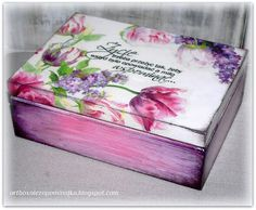 Wood Box Painted Wooden Crates 57 Ideas For 2019 Painted Wooden Boxes, Wooden Crates, Wood Boxes, Hand Painted, Decoupage Wood, Decoupage Vintage, Decoupage Ideas, Woodworking Box, Tea Box