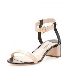 59% off Miu Miu - Sandals Bicolor Patent Leather Nude & Black - $309 #miumiu #sandals