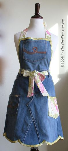 Upcycled Denim Garden Apron  Vintage Inspired by TheWayWeWear, $45.95