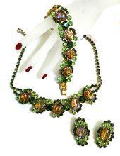 Vintage Juliana Cat Eye Hard to Find Collectors Dream Necklace Bracelet Earrings