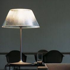 Romeo Moon T Modern Table Lamp designed by Philippe Starck from FLOS Chandelier Fan, Wooden Chandelier, Chandeliers, Philippe Starck, Reeded Glass, Moon Table, Table Lamps For Bedroom, Table Design, Lamp Bulb