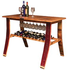 Wine Barrel Wine Country Tasting Table is made from French oak wine barrel staves. Tasting Table is a unique and practical piece of wine barrel furniture Wine Rack Table, Wine Barrel Table, A Table, Wine Barrels, Wine Racks, Wine Cellar, Wine Barrel Crafts, Wine Barrel Furniture, Rustic Furniture