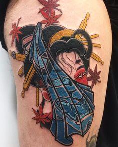 Japanese geisha and hannya mask tattoo by @acetates. #japaneseink #japanesetattoo #irezumi #tebori #traditionaltattoo #colortattoo #colorfultattoo #cooltattoo #largetattoo #legtattoo #geishattoo #hannyatattoo #mapleleaftattoo #blackwork #blackink #blacktattoo #naturetattoo