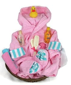 Sunshine Gift Baskets - Sea Characters 10 Piece Bath Time Gift Set - Pink   This gift can be a useful starter set for the new mom. Included in the set is: A pink terry cloth robe (0 to 9 months), a rubber ducky, Read  more http://shopkids.ca/baby-girls/sunshine-gift-baskets-sea-characters-10-piece-bath-time-gift-set-pink