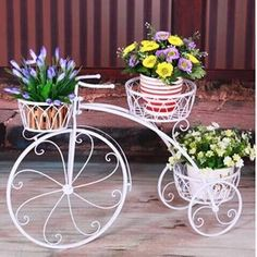 Stand Size: Height Length: inches Pot Size : 6 Inch Rust free protected from powder coated paint D?cor your home and garden with this beautiful cycle planter stand Mordern Style of Gardening/ Perfect gift for those that love outdoor and indoor decor House Plants Decor, Plant Decor, Outside Planters, Tree Base, Iron Plant, Garden Deco, Metal Planters, Flower Stands, Iron Decor