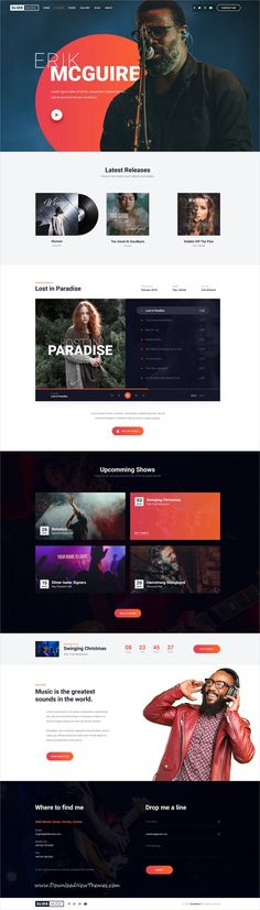A Website Creation Guide For Creating Spectacular Compelling Websites App Design, Layout Design, Music Website Templates, Band Website, Web Themes, Website Layout, Apps, Web Design Inspiration, Psd Templates
