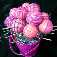 Pretty pink and purple birthday cake pops
