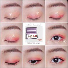 make up korean style eyeliner . Korean Makeup Look, Korean Makeup Tips, Korean Makeup Tutorials, Asian Makeup, Ulzzang Makeup Tutorial, Eyeshadow Base, Makeup Eyeshadow, Eyeshadow Guide, Eyeshadow Tutorials