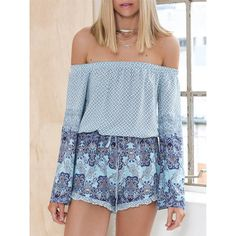 Blue Off The Shoulder Vintage Print Playsuit (28 BAM) ❤ liked on Polyvore featuring blue