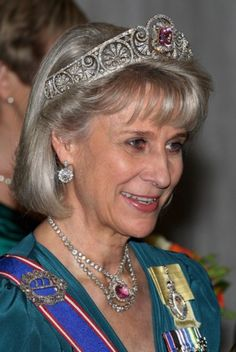 Brigitte, Duchess of Gloucester, wearing her tiara and matching necklace.