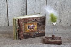 Rustic chic wooden guestbook with pen holder set, Horse lover Country wedding guestbook, Lined guestbook, Horse farmhouse guestbook