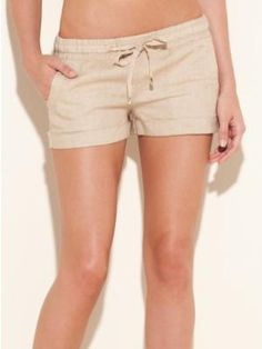 GUESS NORA EASY LINEN SHORTS, NEUTRAL