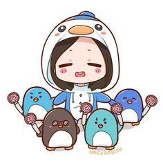 twice fanart mina Penguin Drawing, Penguin Cartoon, Kpop Anime, Anime Chibi, Kpop Drawings, Cartoon Drawings, Nayeon, K Pop, Penguin World